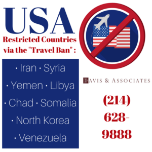 USA Travel Ban Restrictions and Countries Listed