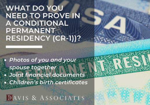 What do you need to prove in a conditional permanent residency? - CR-1