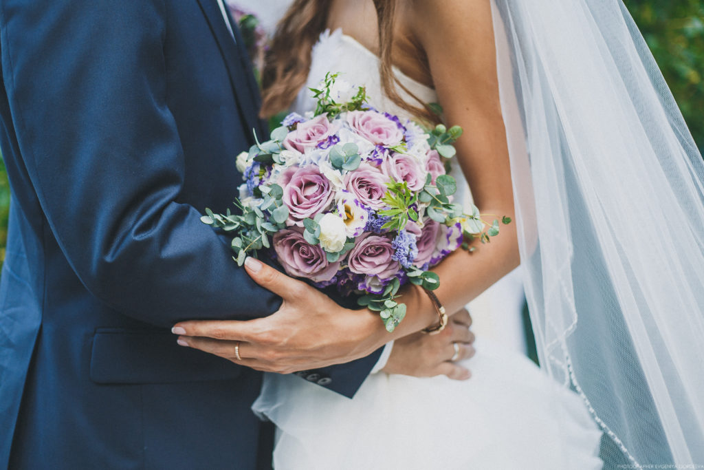 Wedding Day, The Bride And Groom Are Holding A Wedding Bouquet,